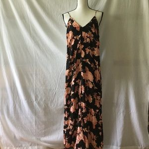 ANTHROPOLOGIE Kennedy Black/Peach floral maxidress